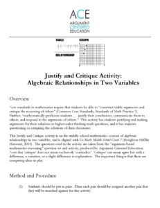Justify and Critique Solutions to 7th/8th Grade Algebraic Relationships in Two Variables Problems