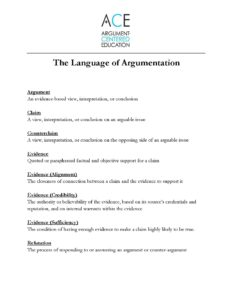 Click here to download the Language of Argumentation Glossary.