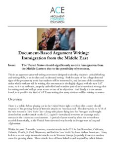 Click here for the full Document-Based Argument Writing: Immigration from the Middle East activity