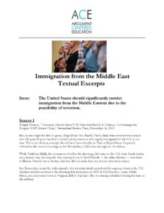 Click here to download the Textual Excerpts from documents on immigration from the Middle East