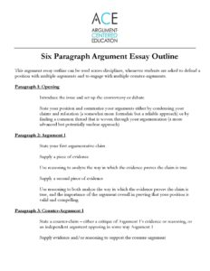 Click here to download the Six Paragraph Argument Essay Outline.