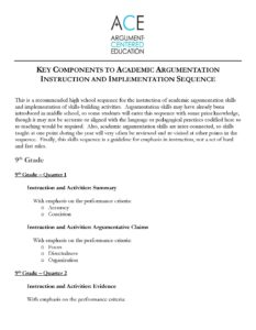 Click here to download the HS academic argumentation instruction and implementation sequence.