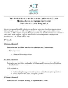 Click here to download the full MS academic argumentation instruction and implementation sequence.
