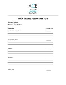 Click here to download the ACE Debate Assessment Form by team.