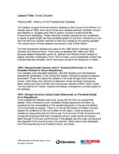 Click here to download the PBS Learning Media summary of recent historical presidential debates.