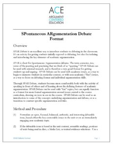 Click here to download the full SPontaneous ARgumentation Format.