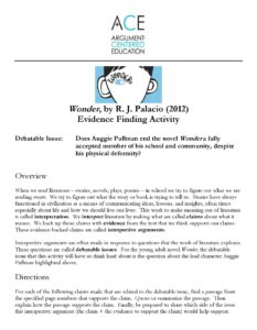 Click here to download the 'Wonder' Evidence Finder Activity.