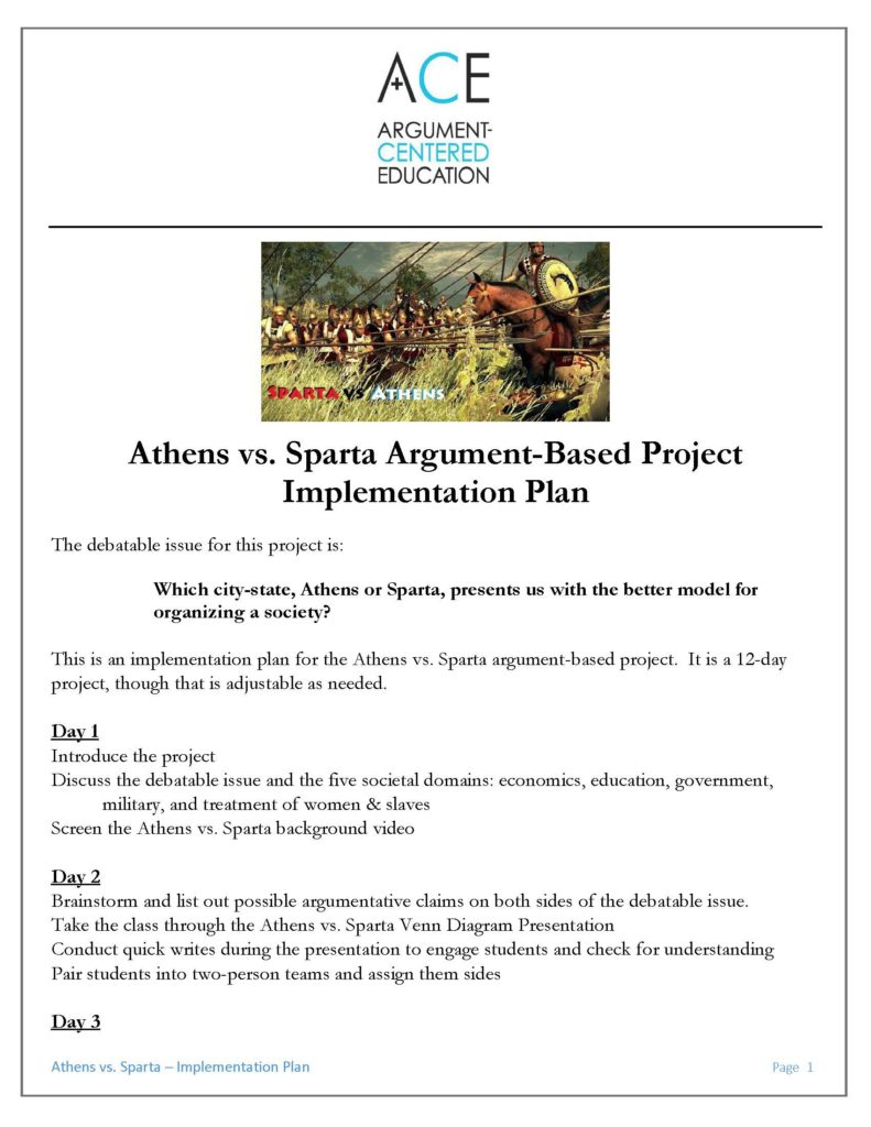 Athens vs sparta an argument based project with documents click here to download the implementation plan for the athens vs sparta argument based project ccuart Choice Image