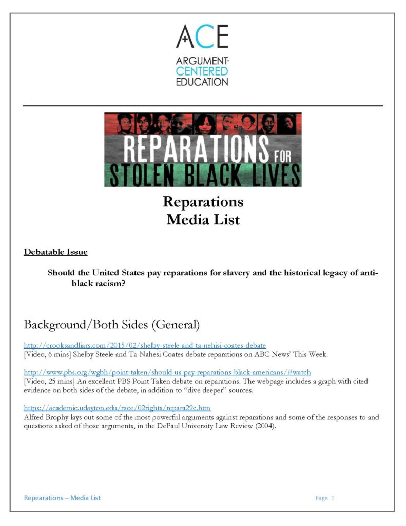 an argument against slavery reparations Reparations for slavery debate in the  the principal argument against reparations is that their cost would not be imposed upon the perpetrators of slavery.