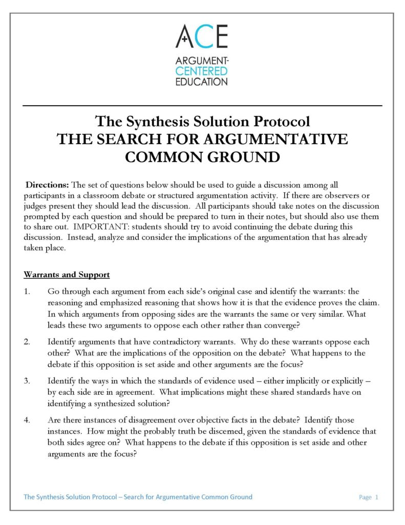 Synthesis Solution Protocol A Demonstration Part 2 Argument
