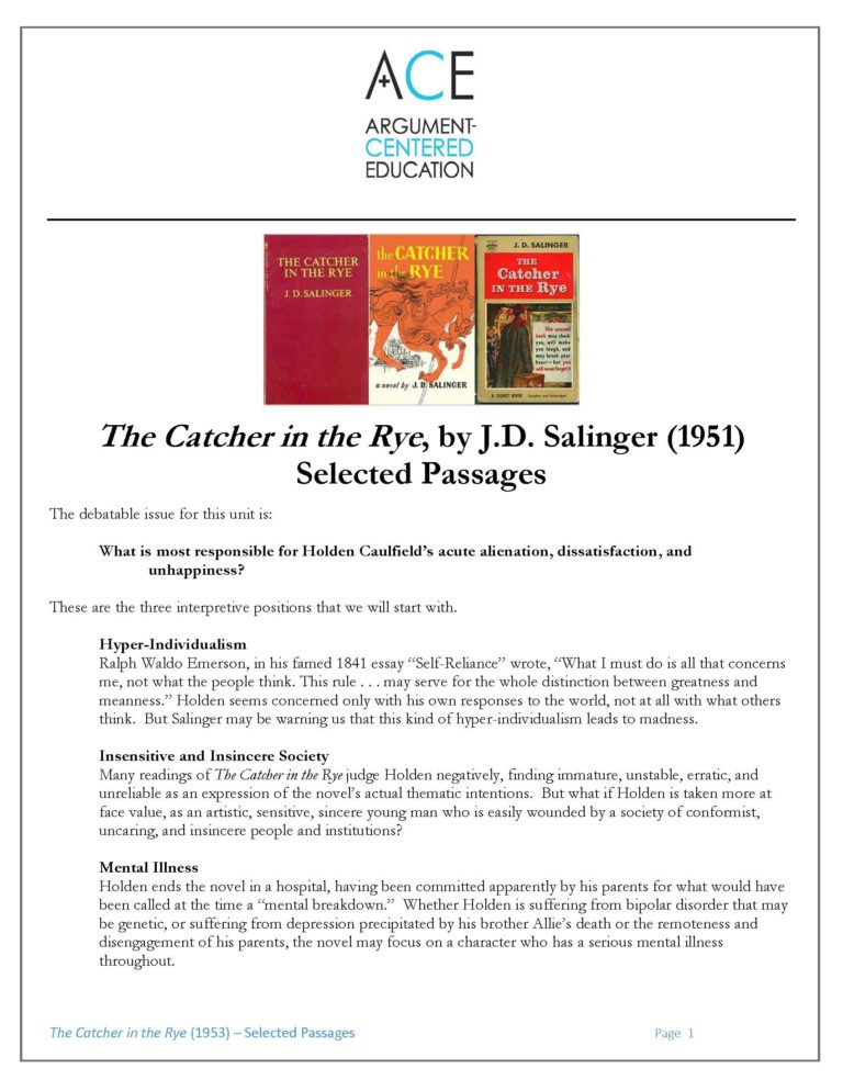 Write my catcher in the rye essay examples