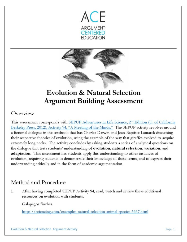 A Sepup Natural Selection Activity Converted Into Argument