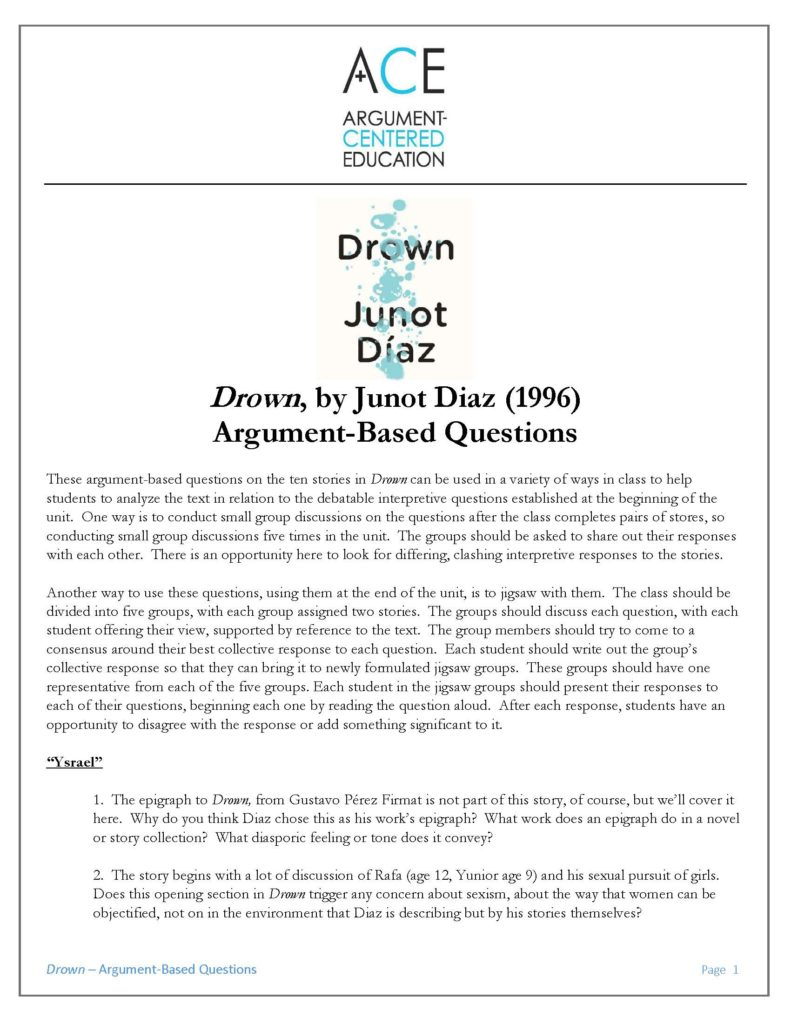 junot diaz drown essay questions