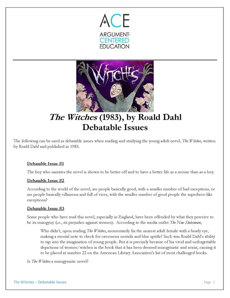 Workbooks the witches roald dahl worksheets : The Witches' and Argument-Based Discussions Linked to Key Passages ...